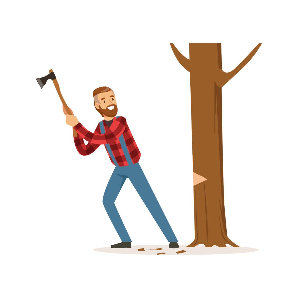 Bûcheron occupé à abattre un arbre